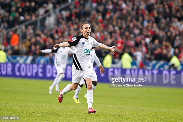 Thibault Giresse of EA Guingamp is celebrating the victory of the French Cup Final match between Stade Rennais FC and EA Guingamp at Stade de France...