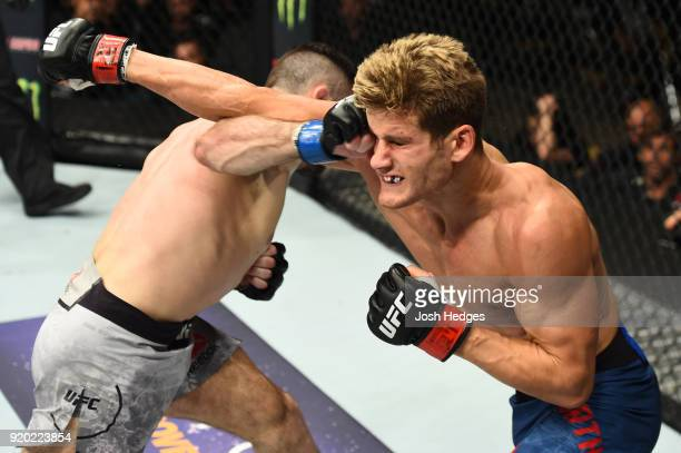 Thibault Gouti of France punches Sage Northcutt in their lightweight bout during the UFC Fight Night event at Frank Erwin Center on February 18 2018...