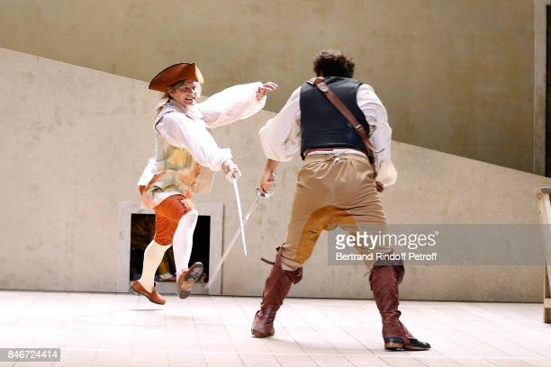 Thibault Lacroix and Adrien GambaGontard perform in 'Les Jumeaux Venitiens' Press Theater Play at Theatre Hebertot on September 6 2017 in Paris France