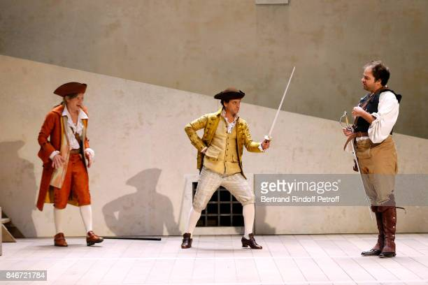 Thibault Lacroix Maxime d'Aboville and Adrien GambaGontard perform in 'Les Jumeaux Venitiens' Press Theater Play at Theatre Hebertot on September 6...