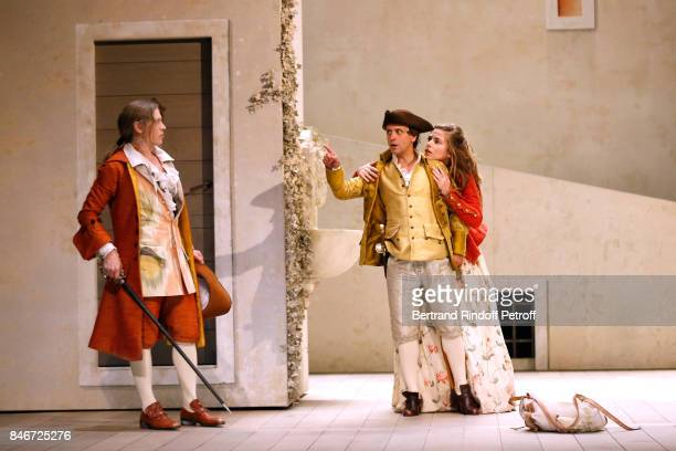 Thibault Lacroix Maxime d'Aboville and Margaux Van Den Plas perform in 'Les Jumeaux Venitiens' Press Theater Play at Theatre Hebertot on September 6...