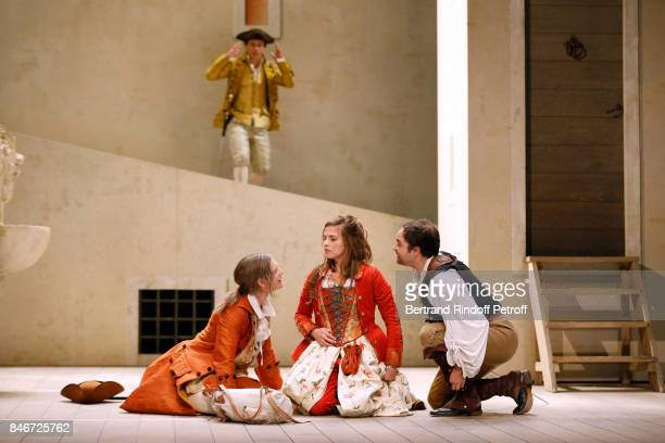 Thibault Lacroix Maxime d'Aboville Margaux Van Den Plas and Adrien GambaGontard perform in 'Les Jumeaux Venitiens' Press Theater Play at Theatre...