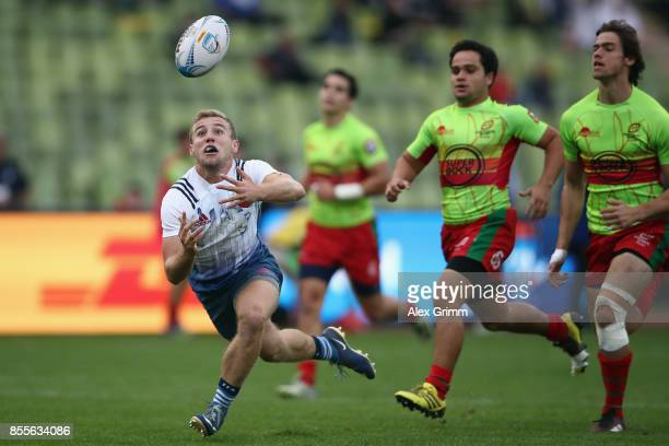 Thibault Mazzoleni of France loses the ball during the match between France and Portugal on Day 1 of the Rugby Oktoberfest 7s tournament at...
