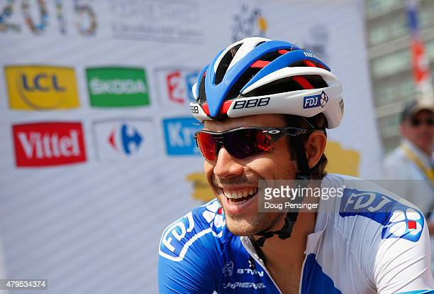 Thibault Pinot of France and FDJ looks on prior to the start of stage two of the 2015 Tour de France a 166km stage between Utrecht and Zelande on...