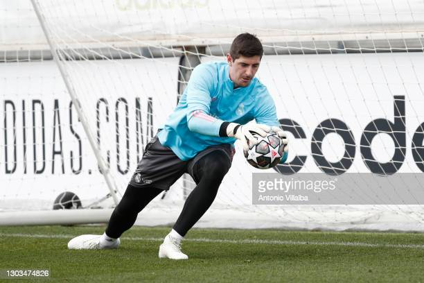 Thibaut Cortois from Real Madrid at Valdebebas training ground on February 22, 2021 in Madrid, Spain.