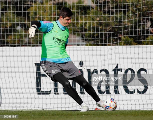 Thibaut Cortois of Real Madrid during a training session at the Valdebebas training ground on February 19, 2021 in Madrid, Spain.