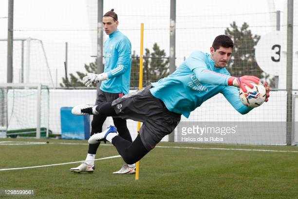 Thibaut Courtois and Andriy Lunin of Real Madrid at Valdebebas training ground on January 26, 2021 in Madrid, Spain.