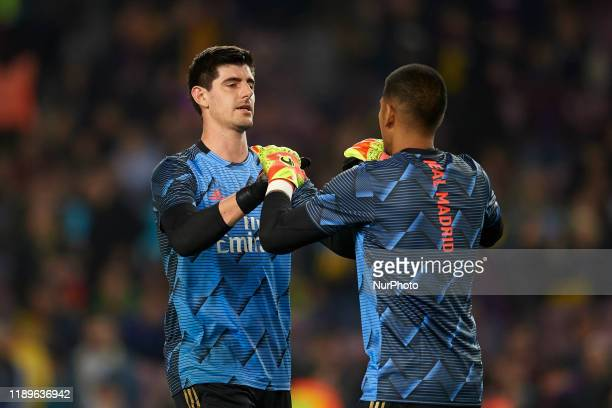 Thibaut Courtois and Areola of Real Madrid during the warmup before the Liga match between FC Barcelona and Real Madrid CF at Camp Nou on October 26...