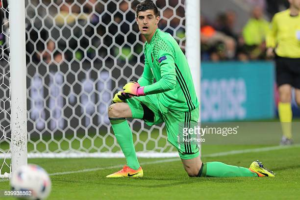 Thibaut Courtois during the UEFA EURO 2016 Group E match between Belgium and Italy at Stade des Lumieres on June 13 2016 in Lyon France