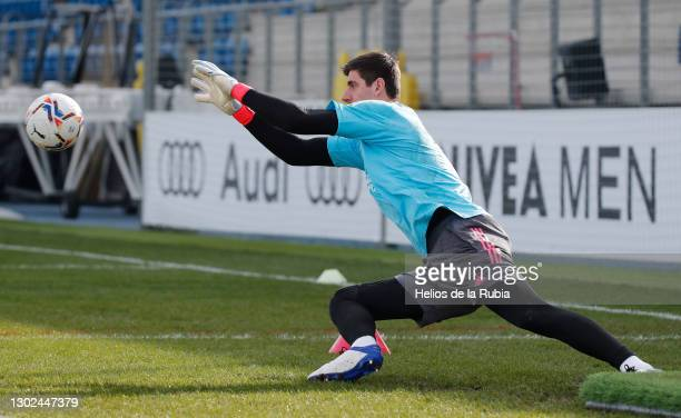 Thibaut Courtois from Real Madrid at Valdebebas training ground on February 16, 2021 in Madrid, Spain.
