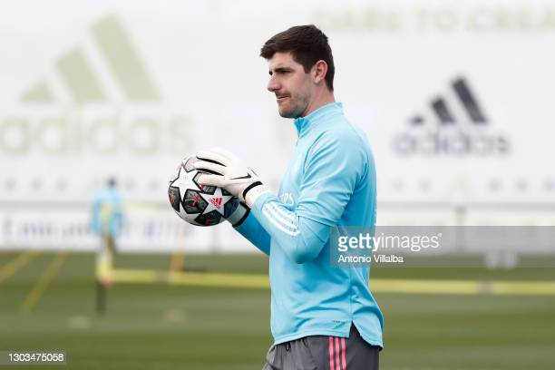 Thibaut Courtois from Real Madrid at Valdebebas training ground on February 22, 2021 in Madrid, Spain.