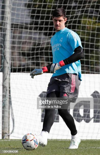 Thibaut Courtois from Real Madrid CF at a team session at Valdebebas training ground on February 27, 2021 in Madrid, Spain.
