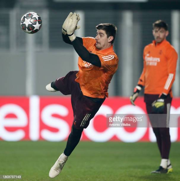 Thibaut Courtois from Real Madrid CF at Valdebebas training ground on February 23, 2021 in Madrid, Spain.