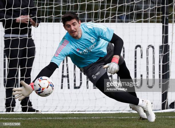 Thibaut Courtois from Real Madrid CF at Valdebebas training ground on February 28, 2021 in Madrid, Spain.