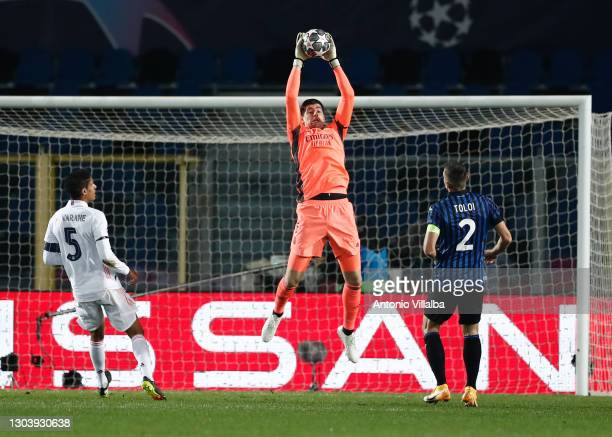 Thibaut Courtois from Real Madrid CF during the UEFA Champions League Round of 16 match between Atalanta and Real Madrid at Gewiss Stadium on...