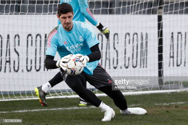 Thibaut Courtois from Real Madrid in action at the Valdebebas training ground on February 18, 2021 in Madrid, Spain.