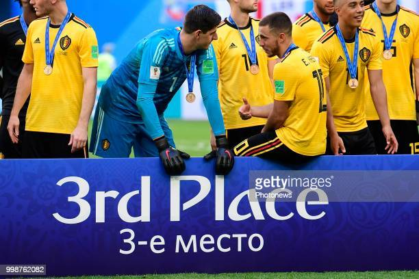 Thibaut Courtois goalkeeper of Belgium and Eden Hazard midfielder of Belgium pictured during the FIFA 2018 World Cup Russia Playoff for third place...