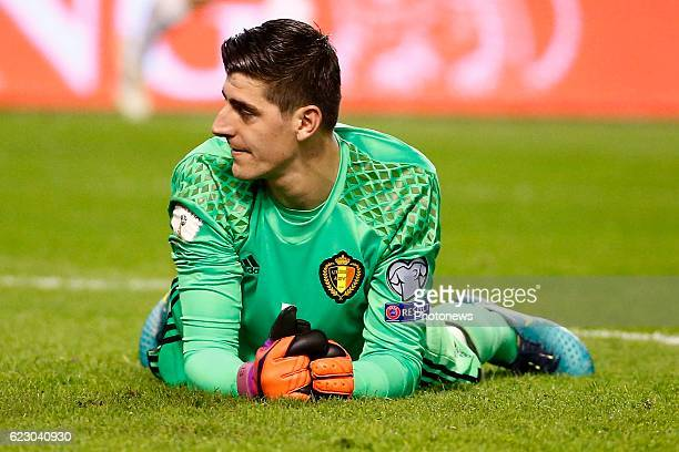 Thibaut Courtois goalkeeper of Belgium during the World Cup Qualifier Group H match between Belgium and Estonia at the King Baudouin Stadium on...