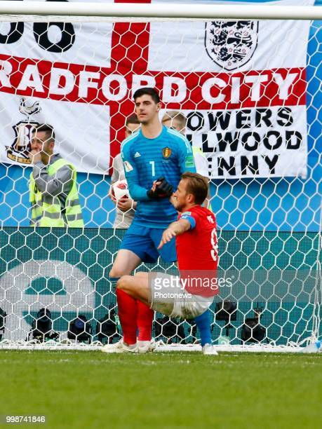 Thibaut Courtois goalkeeper of Belgium Harry Kane forward of England during the FIFA 2018 World Cup Russia Playoff for third place match between...