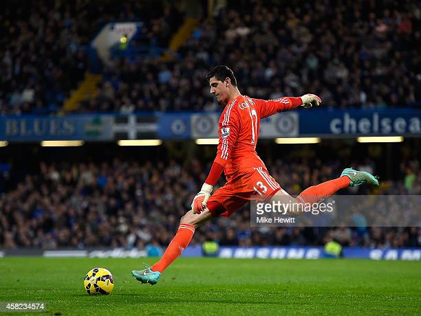 Thibaut Courtois goalkeeper of Chelsea in action during the Barclays Premier League match between Chelsea and Queens Park Rangers at Stamford Bridge...