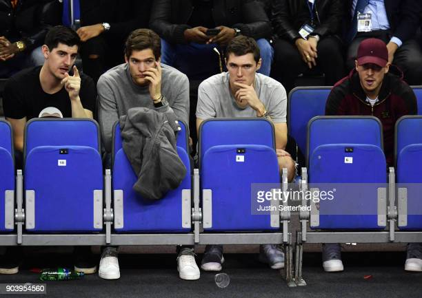Thibaut Courtois Marcus Alonso Andreas Christensen and Eden Hazard during the NBA game between Boston Celtics and Philadelphia 76ers at The O2 Arena...