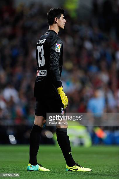 Thibaut Courtois of Atletico de Madrid looks on during the La Liga match between Real Madrid CF and Club Atletico de Madrid at Bernabeu on September...