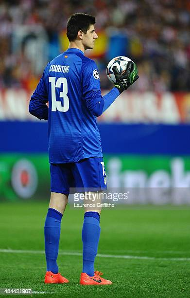 Thibaut Courtois of Atletico Madrid in action during the UEFA Champions League Quarter Final match between Club Atletico de Madrid and FC Barcelonaat...