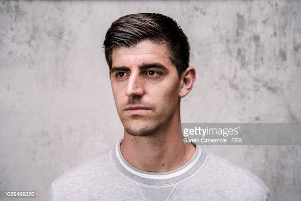 Thibaut Courtois of Belgium and Real Madrid poses for a portrait prior to The Best FIFA Football Awards at London Marriott Hotel County Hall on...