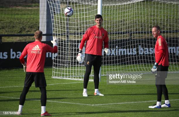 """Thibaut Courtois of Belgium and Thomas Kaminski of Belgium during a training session of the Belgian national soccer team """" The Red Devils """" ahead of..."""