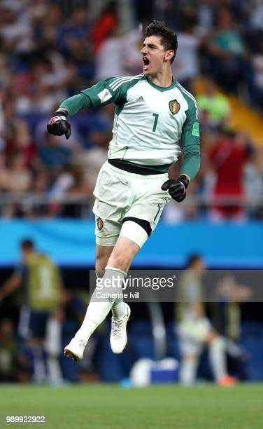 Thibaut Courtois of Belgium celebrates after teammate Marouane Fellaini scores their team's second goal during the 2018 FIFA World Cup Russia Round...