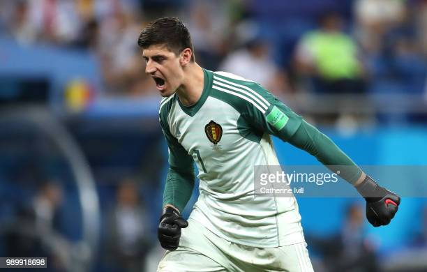 Thibaut Courtois of Belgium celebrates his side's first goal during the 2018 FIFA World Cup Russia Round of 16 match between Belgium and Japan at...