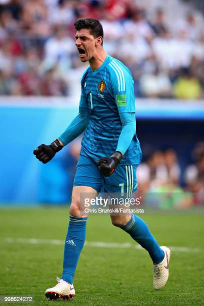 Thibaut Courtois of Belgium celebrates his sides second goal during the 2018 FIFA World Cup Russia 3rd Place Playoff match between Belgium and...
