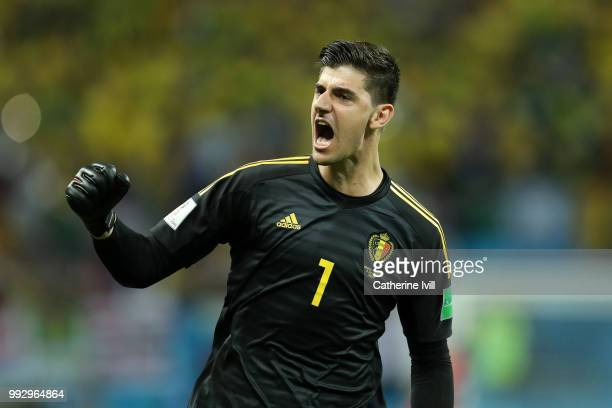 Thibaut Courtois of Belgium celebrates his team's second goal during the 2018 FIFA World Cup Russia Quarter Final match between Brazil and Belgium at...