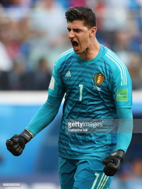 Thibaut Courtois of Belgium celebrates his team's second goal during the 2018 FIFA World Cup Russia 3rd Place Playoff match between Belgium and...