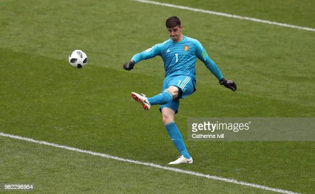 Thibaut Courtois of Belgium during the 2018 FIFA World Cup Russia group G match between Belgium and Tunisia at Spartak Stadium on June 23 2018 in...