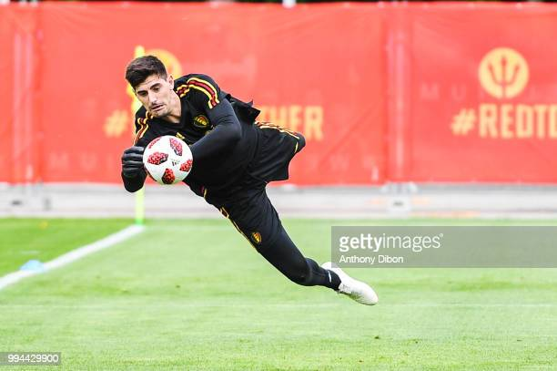 Thibaut Courtois of Belgium during the Training Session of Belgium on July 9 2018 in Moscow Russia