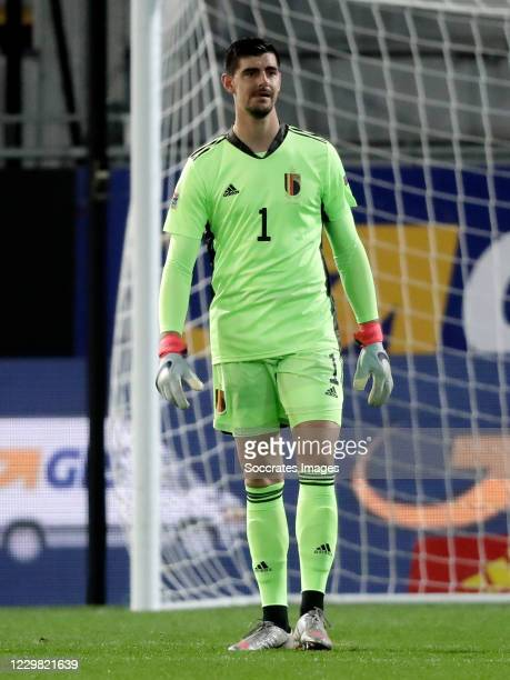 Thibaut Courtois of Belgium during the UEFA Nations league match between Belgium v Denmark at the King Baudouin Stadium on November 18, 2020 in...