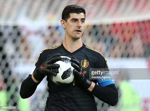Thibaut Courtois of Belgium in action during 2018 FIFA World Cup Russia Group G match between England and Belgium at the Kaliningrad stadium...