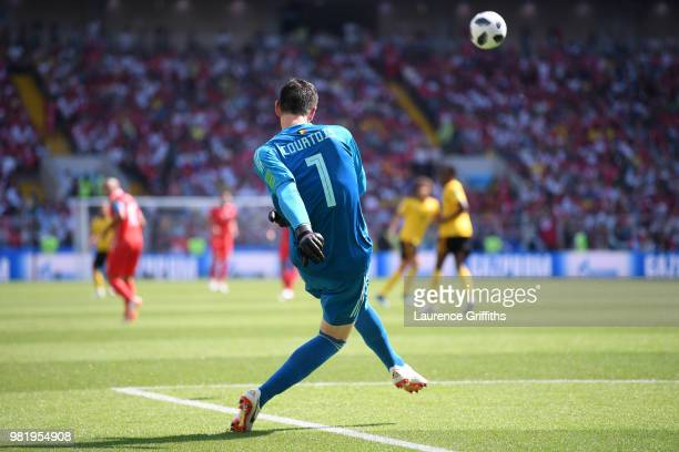 Thibaut Courtois of Belgium in action during the 2018 FIFA World Cup Russia group G match between Belgium and Tunisia at Spartak Stadium on June 23...