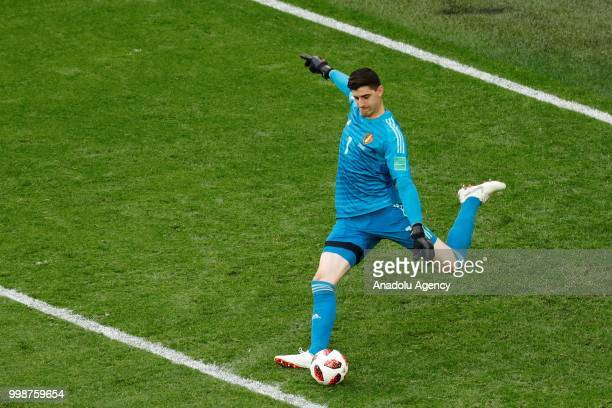 Thibaut Courtois of Belgium in action during the 2018 FIFA World Cup 3rd place match between Belgium and England at the Saint Petersburg Stadium in...