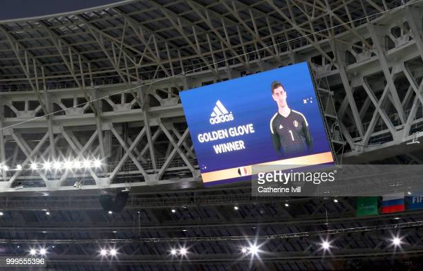 Thibaut Courtois of Belgium is shown as the golden boot winner on the big screen in the stadium following the 2018 FIFA World Cup Final between...