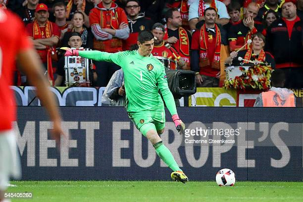 Thibaut Courtois of Belgium kicks the ball during the UEFA EURO 2016 Quarter Final match between Wales and Belgium at Stade PierreMauroy on July 1...