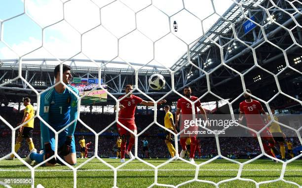 Thibaut Courtois of Belgium looks dejected after conceding a goal from Dylan Bronn of Tunisia during the 2018 FIFA World Cup Russia group G match...
