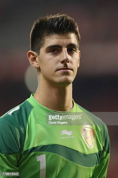 Thibaut Courtois of Belgium looks on during the International friendly match between Belgium and France at the King Baudouin Stadium on August 14...