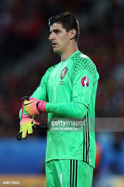 Thibaut Courtois of Belgium looks on during the UEFA Euro 2016 Quarter Final match between Wales and Belgium at Stade PierreMauroy on July 1 2016 in...