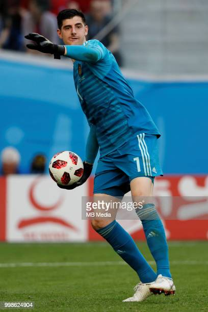 Thibaut Courtois of Belgium passes the ball during the 2018 FIFA World Cup Russia 3rd Place Playoff match between Belgium and England at Saint...