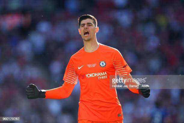 Thibaut Courtois of celebrates his side's first goal during the Emirates FA Cup Final between Chelsea and Manchester United at Wembley Stadium on May...