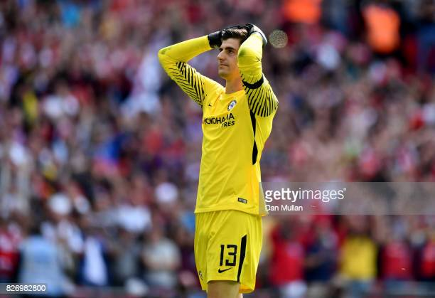 Thibaut Courtois of Chelea reacts to missing his sides second penalty during the The FA Community Shield final between Chelsea and Arsenal at Wembley...