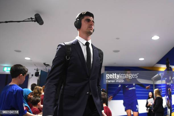 Thibaut Courtois of Chelsea arrives at the stadium prior to The Emirates FA Cup Final between Chelsea and Manchester United at Wembley Stadium on May...