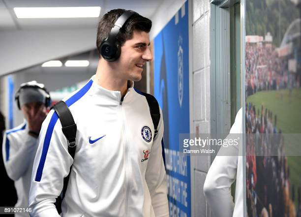 Thibaut Courtois of Chelsea arrives at the stadium prior to the Premier League match between Huddersfield Town and Chelsea at John Smith's Stadium on...